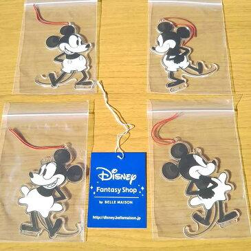 Disney ディズニー クラシック ミッキー&ミニー アクリル クリスマス オーナメント 4個セット クリスマスパッケージ クリスマスツリー 飾り(※ゆうメールでの発送の場合、サイズ・重量の関係で180円→300円となります)