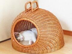 職人の手技が生んだ美しい籐バスケットペットハウス猫ちぐら1002マット付籐の猫ちぐら(ハウス...