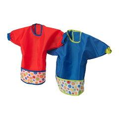 ベビーとママの必需品★IKEA ベビースタイ そで付き お食事用エプロン レッド/ブルー 2枚...