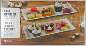 2段ビュッフェサーバースクエアプレート/角皿2枚付きラック付き/ケーキスタンド/白いお皿