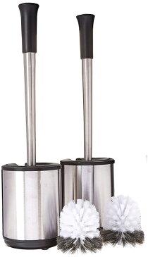 Polder ステンレススチール トイレブラシ キャディー トイレブラシ&トイレポット 2個セット 替えブラシ2個付き