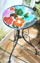 丸型ガラステーブル 押し花ガラス風 ガーデンテーブル コストコ
