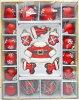 オーナメント【サンタグラスボール22個セット】ガラスボール/クリスマスツリー用/ハンドペイント/大き目/ラメ