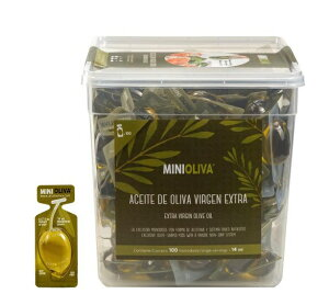ALCALA 【minioliva】 エクストラバージンオリーブオイル 14ml×100個入り 食用オリーブ油 個別包装/個包装/小分け/ポーション/オリーブ油
