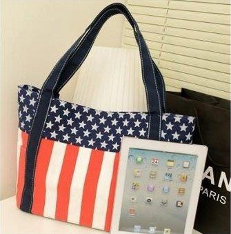 アメリカ 星条旗 柄 キャンパス 地 大容量 トートバッグ