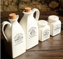 ナチュラルミルク瓶調味料入れカントリー風陶器製4点セット