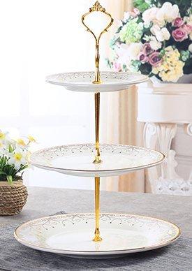 アフタヌーンティー 3段 ゴージャス 金枠 プレート ゴールド 皿セット