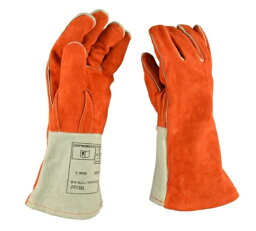 セーフティ ロング グローブ 保護 手袋 キャンプ 溶接 34cm (オレンジ) 耐熱 耐磨耗 牛革 厚手