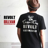 REVOLT CUSTOM CYCLES バックプリント ナックル ヘビーTシャツ BILLVAN RVT-0002 ビルバン アメカジ