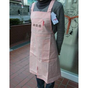 リサ ラーソン エプロン シャンブレー無地 ピンク 後ろX型 ハリネズミ刺繍【あす楽対応】