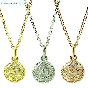 ハワイアンジュエリー ネックレス メダル レディース メンズ シルバー イエローゴールド ピンクゴールド ステンレススチール 誕生日 記念 サージカルステンレス