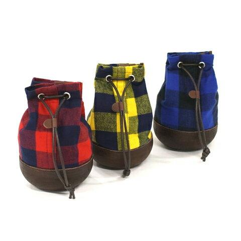 巾着バッグ日本製帆布鞄モールドレザーバッファローチェックバッグ/バトラーバーナーセイルズ/メンズレディースおしゃれかわいいカジュ
