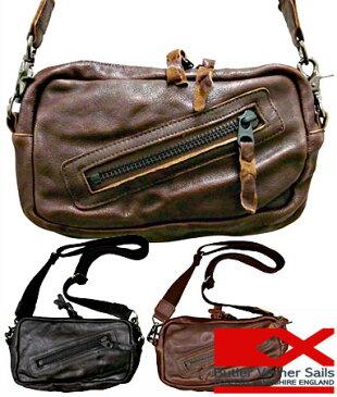 レザーショルダーバッグ 日本製 本革鞄 シワ加工 / バトラーバーナーセイルズ ButlerVernerSails / メンズ レディース 斜めがけ 牛革 小さめ スモール おしゃれ カジュアル 30代 40代 50代 ファッション ブランド