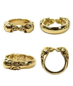 K18ゴールドリング指輪/クレイジーピッグCRAZYPIG/2スカルチューダーリングK18ゴールド指輪リングメンズリングレディースおしゃれ正規品プレゼントシルバー925