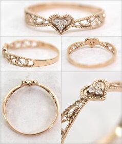 K10ゴールドリング指輪/アンティークハートダイヤモンド0.02ctK10K18ゴールドリング指輪リングレディースおしゃれかわいいプレゼントゴールド激安特価安い格安SALEセール