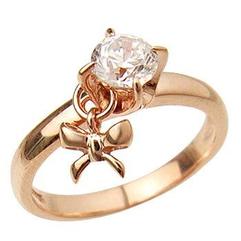 ピンクゴールドcoatリング 指輪 / ミー me / 1粒石&リボン ピンキーリング (ピンクゴールドコーティング) 【 指輪 リング レディース おしゃれ かわいい シルバー925 ハロウィン 】