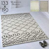 ラグラグマット133x190cmモロッコモロカンベニワレン厚手ウィルトン織約1.5畳