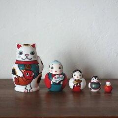 即納!KIMURA&Co.手作りマトリョーシカ『めでた尽くし』5個組 11cm送料無料【マトリ…