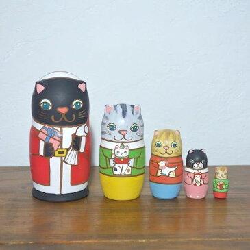 KIMURA&Co.手作りマトリョーシカ『猫サンタからの贈り物』5個組 16cm【マトリョーシカ】