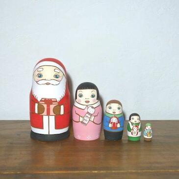 KIMURA&Co.手作りマトリョーシカ『サンタからの贈り物 こけし』5個組 16cm【マトリョーシカ】
