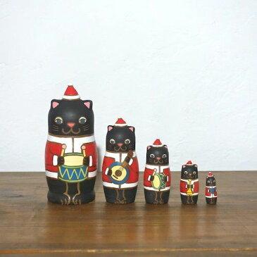 KIMURA&Co.手作りマトリョーシカ『黒猫サンタ楽隊』5個組 12cm受注生産品【マトリョーシカ】