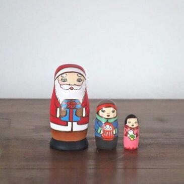 KIMURA&Co.手作りマトリョーシカ『サンタからの贈り物 だるま』3個組 7cm受注生産品【マトリョーシカ】