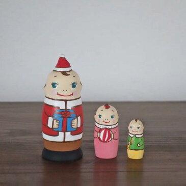 KIMURA&Co.手作りマトリョーシカ『キューピーサンタからの贈り物 だるま』3個組 7cm受注生産品【マトリョーシカ】