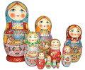 セルギエフ・ポサード産マトリョーシカつやつやタイプ10個組赤いずきん10個組花かご、サモワール、ピロシキでお茶をする家族のマトリョーシカ大きいタイプ26センチ10個組【マトリョーシカ】