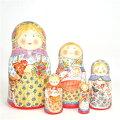 ダノワ作品「幸せ家族赤ちゃんを抱く」18cm5個組作家ナタリヤ・ダノワ【マトリョーシカ】