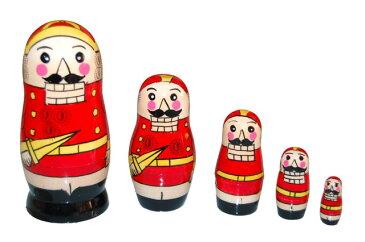 【楽ギフ_包装】くるみ割り人形 マトリョーシカ 5人組 11cm(中:サイズ)(coolor:レッド)【マトリョーシカ】