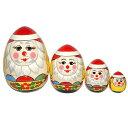 クリスマスマトリョーシカサンタさんマトリョーシカ(たまご型)4個組 黄色
