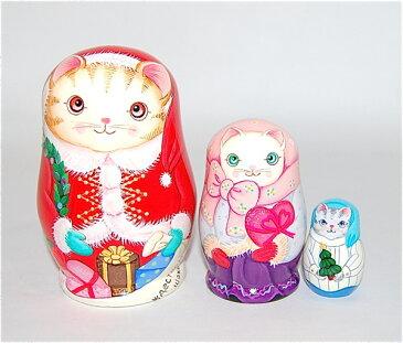 ショコラ工房のマトリョーシカSanta Cat (サンタキャット)茶トラ3個組【マトリョーシカ】