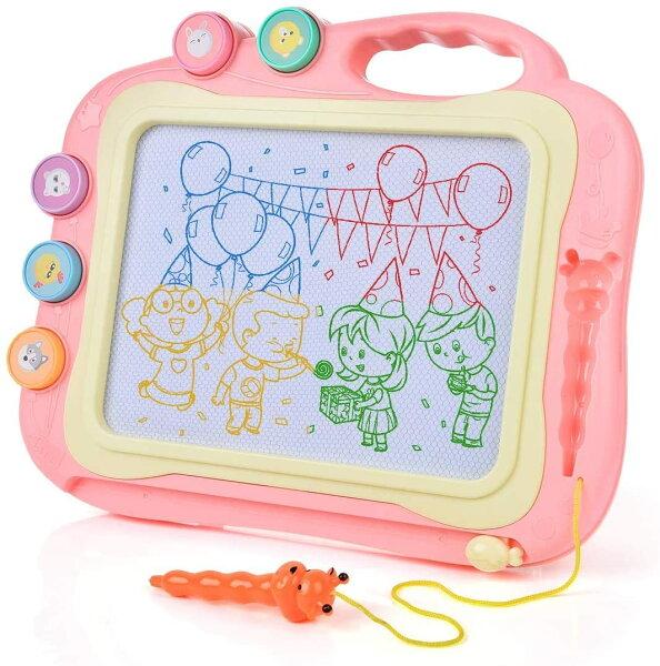 お絵かきボード大画面(35.5*28.5cm)おもちゃかいて育脳知育玩具シリーズ持ち手付カラフル