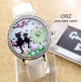 ORZデコウオッチかわいい3Dメルヘン黒ねこレディース腕時計
