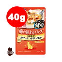 RunPetで買える「COMBO コンボ 海の味わいスープ おいしい減塩 15歳以上 まぐろとかつおぶしと鯛添え 40g 日本ペットフード ▼a ペット フード 猫 キャット パウチ」の画像です。価格は80円になります。