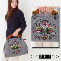 GOSHICOゴシコ箱型バッグフォーク雄鶏グレー