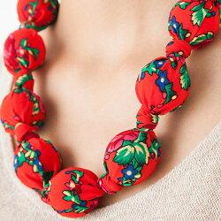 ポーランドフォークアート柄布包みネックレス