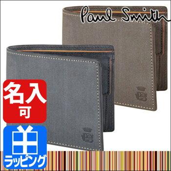 送料無料ポールスミスPAULSMITHメンズポール・スミス二つ折り財布ロウコレクションブランド554839J160小銭入れあり