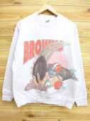1a0da990e Gray marbled American football Super Bowl in the L ☆ old clothes sweat shirt  90s made in NFL Cleeveland Browns USA