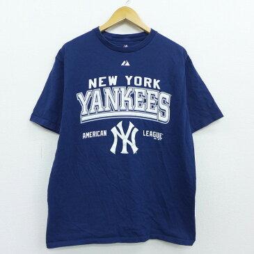 【中古】古着 半袖Tシャツ マジェスティック MLB ニューヨークヤンキース コットン クルーネック 丸首 紺 ネイビー メジャーリーグ ベースボール 野球 Lサイズ 中古 メンズ 中古メンズ半袖プリントキャラクター