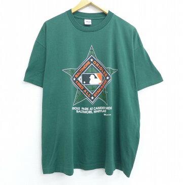 【中古】古着 半袖 ビンテージ ヴィンテージTシャツ 90年代 90s MLB ボルティモアオリオールズ ビッグロゴ 大きいサイズ 2L LL ビッグシルエット ゆったり ビッグサイズ オーバーサイズ クルーネック 丸首 USA製 アメリカ製 緑 グリーン メジャーリーグ ベースボール