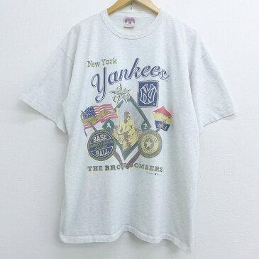 【中古】古着 半袖 ビンテージ ヴィンテージTシャツ 90年代 90s MLB ニューヨークヤンキース 大きいサイズ 2L LL ビッグシルエット ゆったり ビッグサイズ オーバーサイズ クルーネック 丸首 グレー 霜降り メジャーリーグ ベースボール 野球 XLサイズ 中古 メンズ |