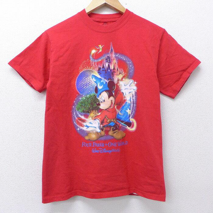 【中古】古着 半袖Tシャツ ディズニー DISNEY ミッキー MICKEY MOUSE ティンカーベル コットン クルーネック 丸首 赤 レッド Sサイズ 小さいサイズ 中古 メンズ 中古メンズ半袖プリントキャラクター