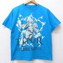 【中古】古着 半袖Tシャツ マーベル マイティーソー コミックシリーズ 薄紺 ネイビー Mサイズ 中古 メンズ 中古メンズ半袖プリントキャラクター