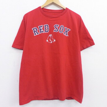 【中古】古着 半袖Tシャツ MLB ボストンレッドソックス コットン クルーネック 丸首 赤 レッド メジャーリーグ ベースボール 野球 XLサイズ 中古 メンズ 中古メンズ半袖プリントキャラクター