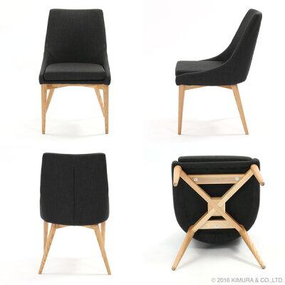 1脚あたり12,490円(税別)2脚セットダイニングチェアーフランスのデザイナーによる北欧デザイン3色の生地から選べるファブリックのいす組み合わせ自由木製食卓用椅子おしゃれなナチュラルテイストのクッションイームズL-C312x2