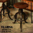 天然木無垢材とアイアンのインダストリアルテイストのスツール 高さ調節ができるおしゃれなカフェやバーカウンターのようなかっこいいバーチェア アンティーク加工によるレトロな雰囲気の椅子 ビンテージ感のあるイス KLUB14 REC402BK