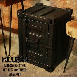 【KLUB14】インダストリアル1ftコンテナ収納ボックスアイアンREG030BK
