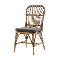 ラタンダイニングチェア材料に皮付のラタンを使用した自然の風合いナチュラルテイストクッション付き創業100年籐家具専門メーカーの技術の籐製食卓用椅子BREEZEC308MEM