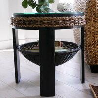 アジアン家具バナナリーフガラスサイドテーブルT145AT